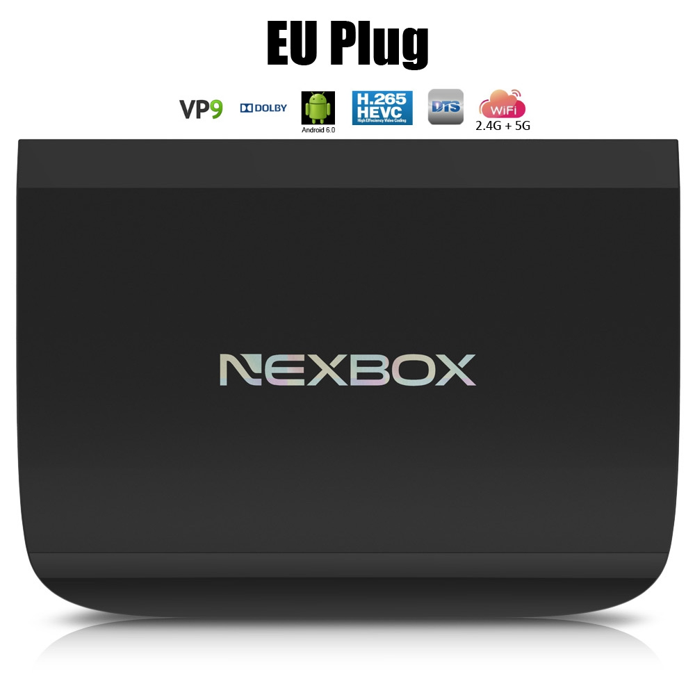 Prix pour NEXBOX A1 Android 6.0 Smart TV Box 4 K VP9-10 2G 16G Amlogic S912 Octa Core H.265 2.4 GHz 5.8 GHz Double WiFi BT4.0 KD Media Player
