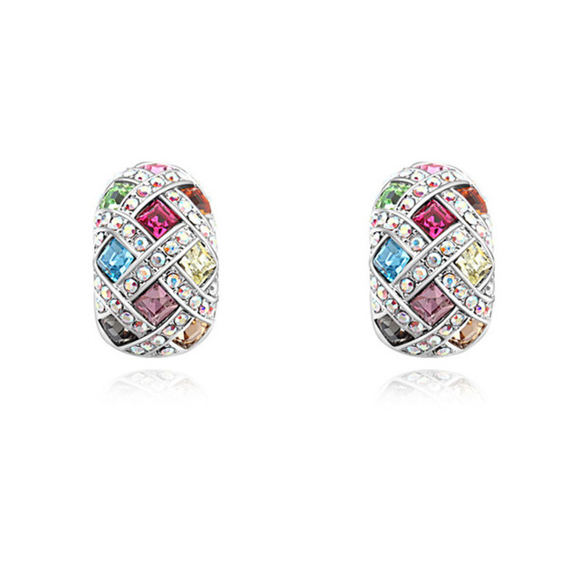Authentic Crystal from Swarovski Gorgeous Party Jewelry for Women Half Circle Stud Earrings Brinco Made with Swarovski Element