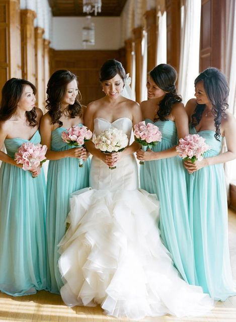 New Fashion Romantic Pool chiffon Pleat dress for bridesmaid of wedding  long Floor Length bridesmaid dresses f81f90527e7f