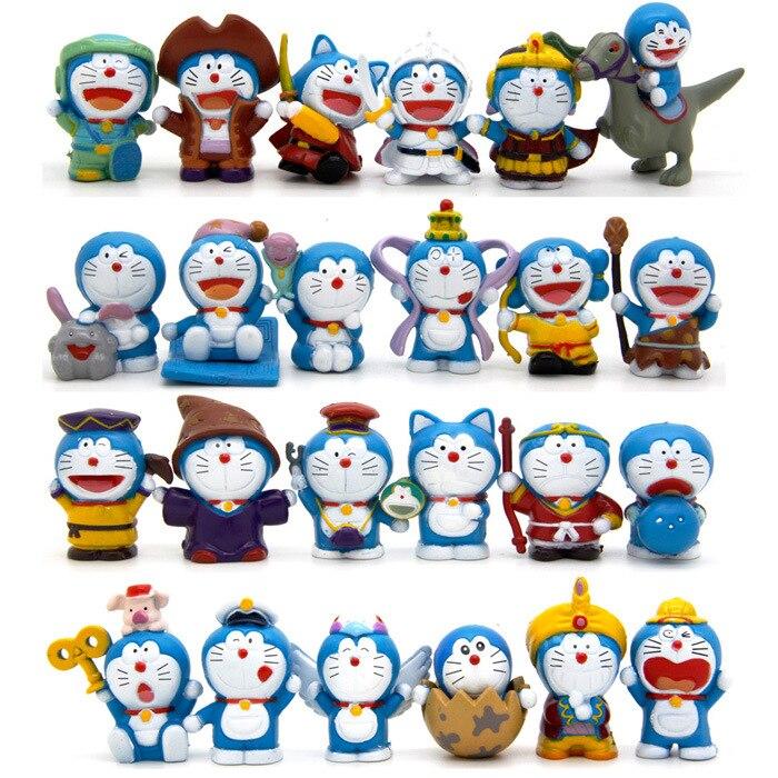 Anime Cartoon Cute Doraemon Mini Figure Model Toys Dolls 24pcs/set Child Toys Birthday Gifts Home Desktop Decoration Crafts