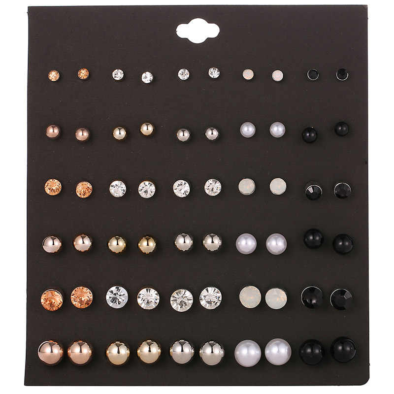 OATHYAN 30 Pairs/set Fashion Round Rhinestone Crystal Stud Earrings Set For Women Jewelry Ladies Ball Pearl Earring Gift Brincos