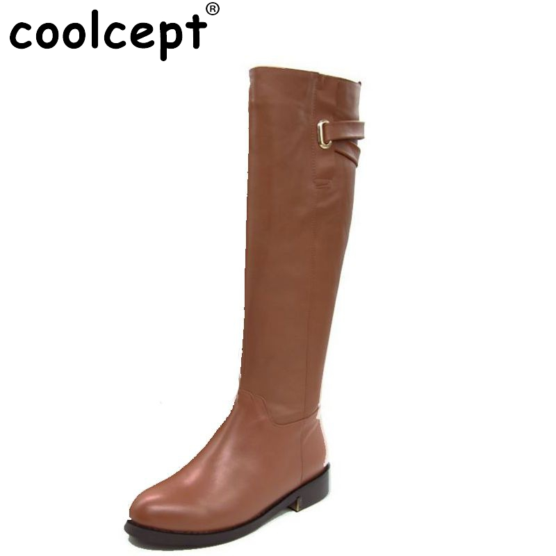 Фотография Coolcept Size 35-43 Winter Warm Over Knee Fur Buckle Brand Qaulity Real Leather Boots Women Fashion Snow Footwear Boots R1494