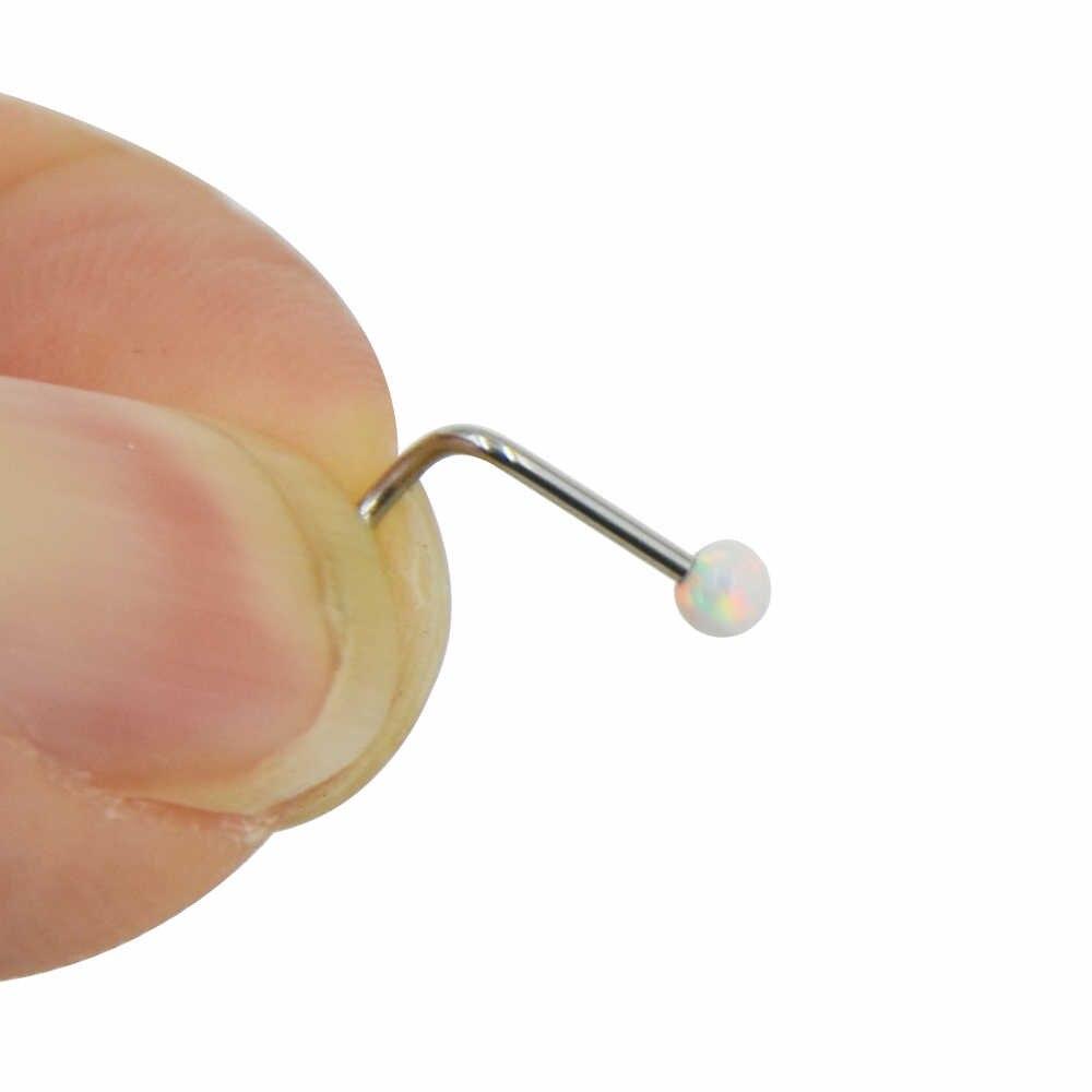 1 шт. хирургическое стальное полое Сердце Звезда Луна Циркон нос Резьбовое кольцо опал носовые запонки из кости фиксатор держатель пирсинг ювелирные изделия для тела 20 г