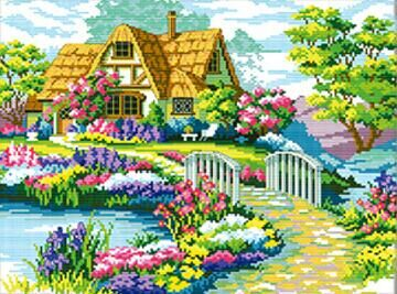Needlework,DIY DMC Cross stitch,Sets Embroidery kits,scenery clock home decro Counted Cross-Stitching,factory direct sale