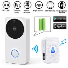 DAYTECH Wireless Smart Video Doorbell Video Intercom Camera Doorbell 720P Door Bell Battery Operation Free APP Control VD02WH