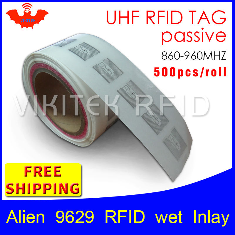 RFID tag UHF sticker Alien 9629 EPC 6C wet inlay 915mhz868mhz860-960MHZ Higgs3 500pcs free shipping adhesive passive RFID label 500pcs rfid one off coated paper wristbands tag epc gen2 support alien h3 chip used for personnal management