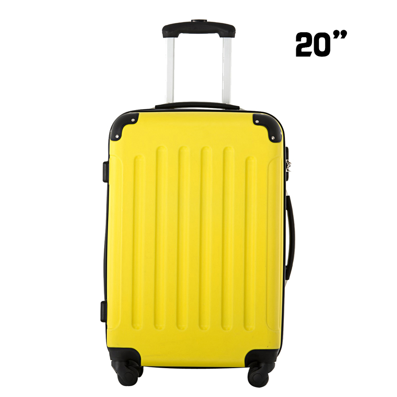 Hardside Carry on Travel Rolling Luggage Suitcase ABS 20 Inches Yellow Color Universal Spinner 4 Wheels