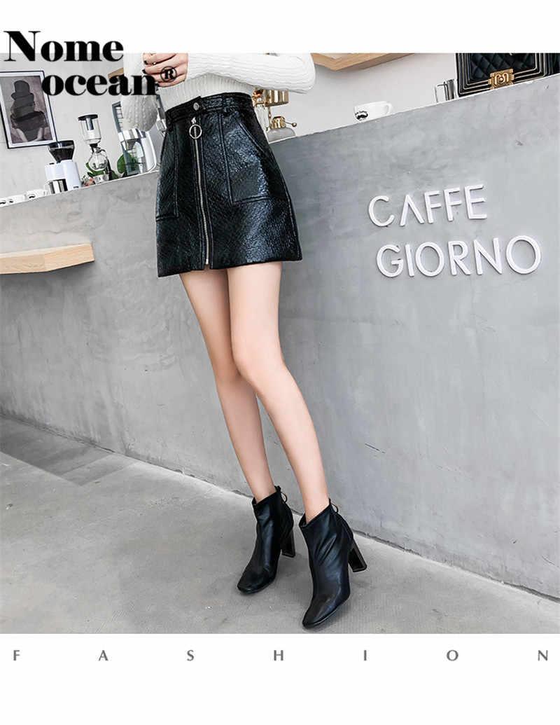 07c67571b7c ... Vertical Zipper PU Skirt of Girls 2018 Autumn Double Pockets A-line  Skirt Black Hot ...