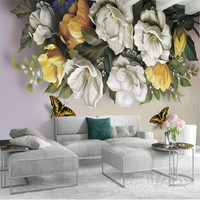 Beibehang European Vintage Retro Rose Butterfly Background Wall Decoration Painting Custom Large Mural Wallpaper Papel De