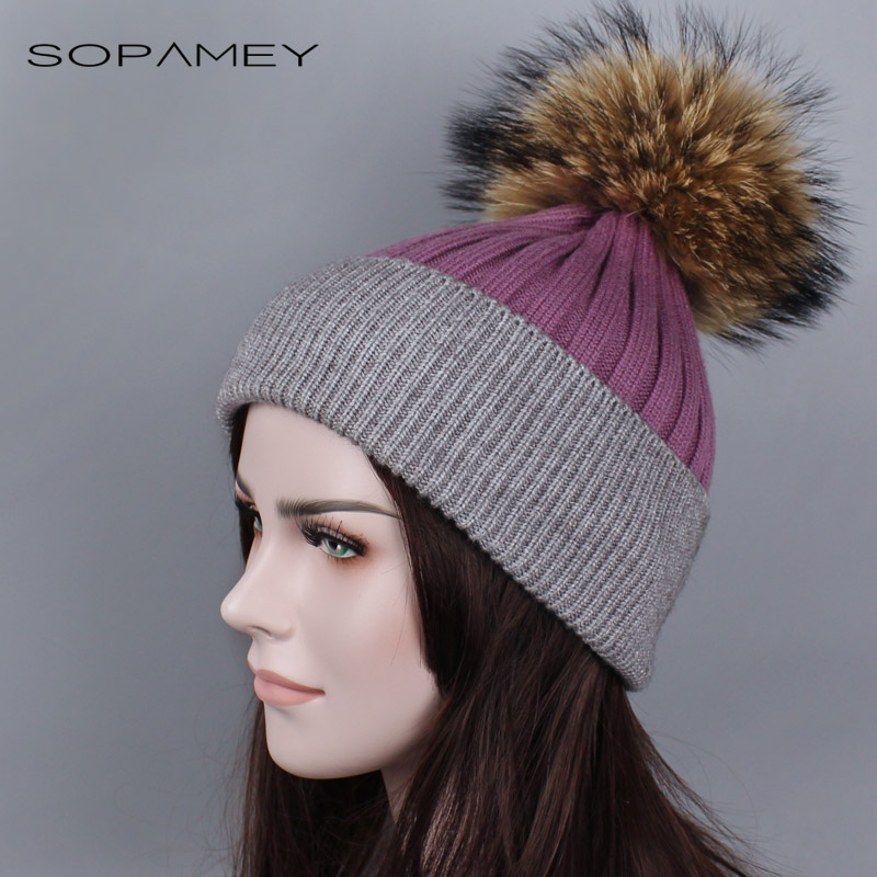 Women fur hat for winter knitted beanies cap fluffy fur pom pom hats brand new fashion casual caps good quality 2017 New