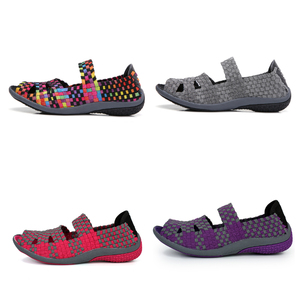 Image 3 - Sandálias femininas de verão stq 2020, sapatos baixos femininos de tecido, sandálias para senhoras, sapatos de praia flops 812,