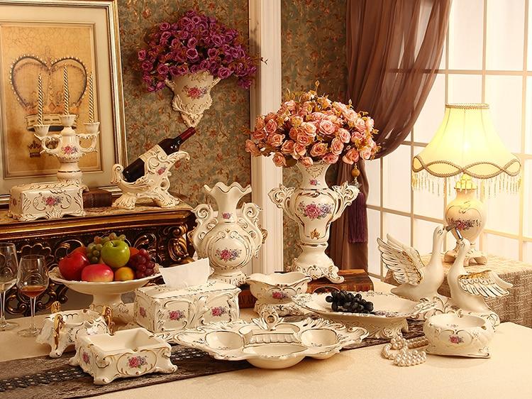 유럽 스타일의 고급 장식 세라믹 꽃병 세트 과일 접시 수건 상자 재떨이 홈 가구 장식