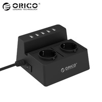 ORICO ODC Updated Office Home 2 AC EU Power Strip With 5 Ports USB Charger For