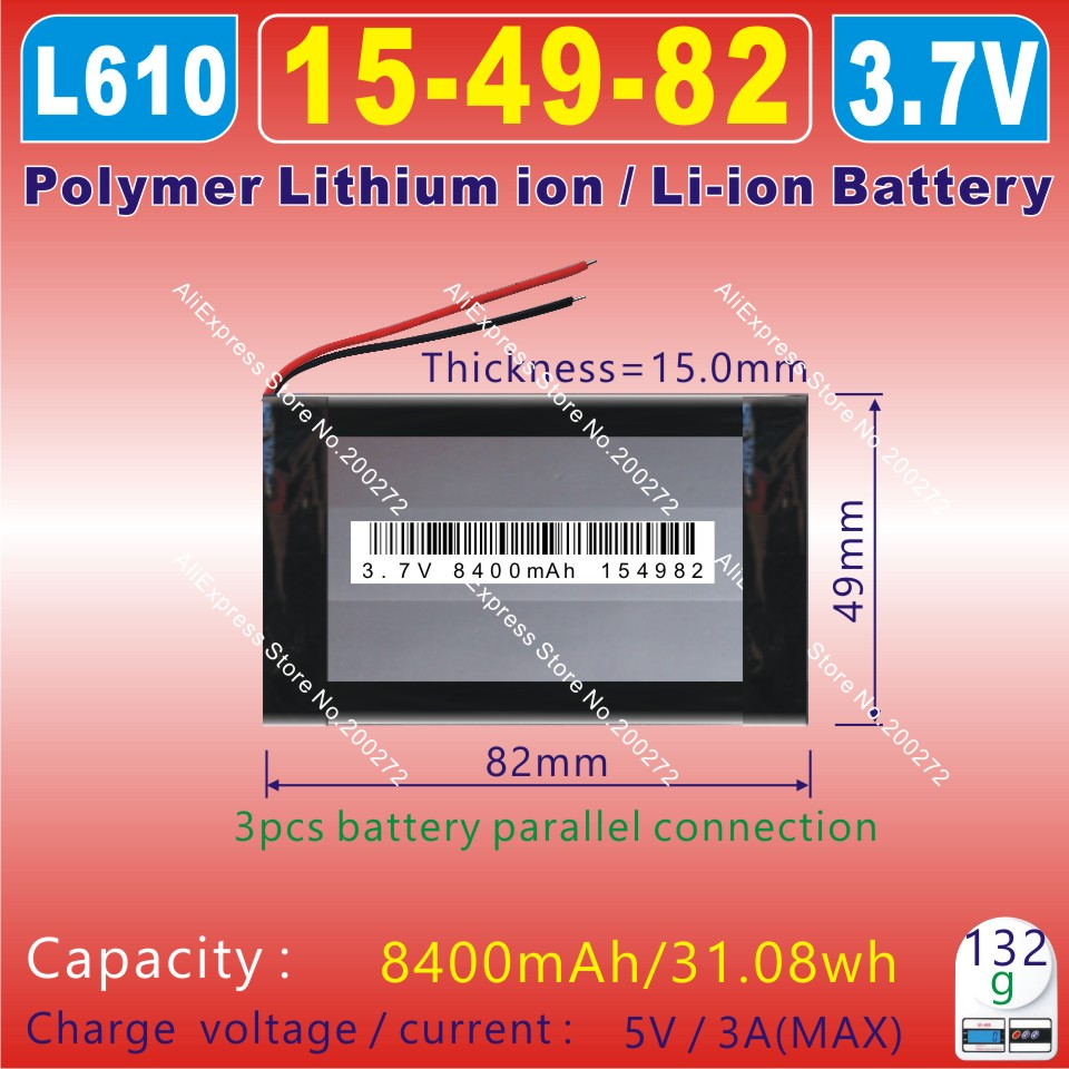 Polymer Lithium Ion Battery For Gps;vr;ar;tablet Pc;power Bank ;bluetooth;dvr;mp3 Discreet 3.7v 8400mah 154982 l610