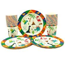 Вечерние принадлежности 48 шт Новый динозавр тематические праздничные Детские вечерние дети посуда для вечеринки в честь Дня Рождения вечерние столовые приборы набор, 24 шт десертные тарелки Посуда + 24 шт чашки очки