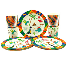 Party supplies 48pcs New Dinosaur theme party kids birthday party tableware set, 24pcs dessert plates dishes+24pcs cups glasses