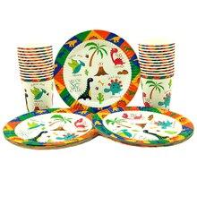 Vaisselle et vaisselle 48 pièces, ensemble de vaisselle, assiettes à dessert et verres, 24 pièces, avec verres et verres, nouveau thème de dinosaure, fête danniversaire pour enfants