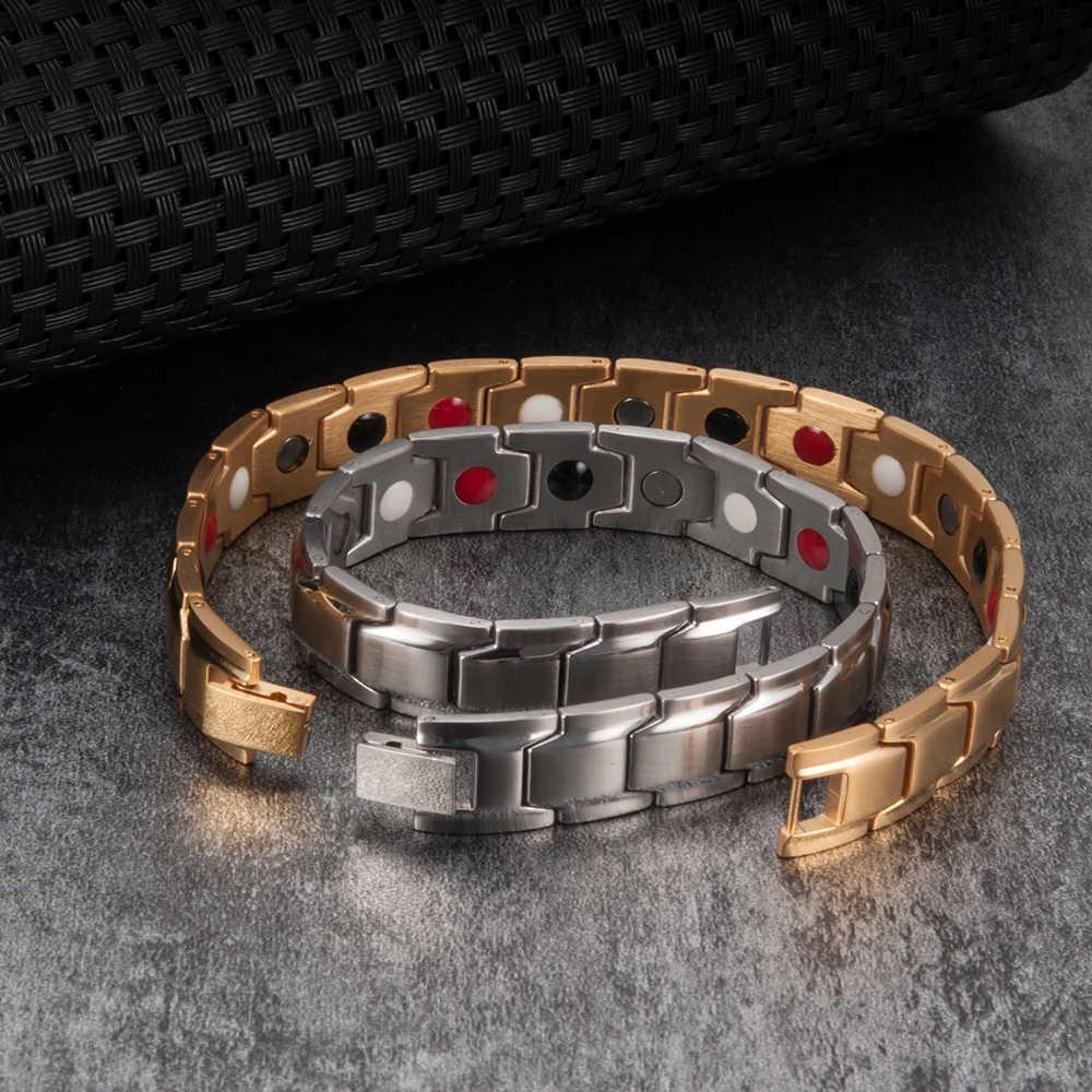 Vinterly черный магнитный браслет для мужчин из нержавеющей стали Энергетический Магнит из германия здоровья браслеты для мужчин ручной цепи браслеты для женщин