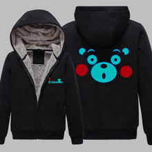 Winter Jackets and Coat Black Kumamon hoodie Anime Bear Luminous Thick Men Sweatshirts