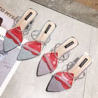 Shoes Slides Med Slippers Heels Pointed Toe Sliders High Summer Luxury 2019 PU Bling Fabric Fashion Basic Rubber Strange Style
