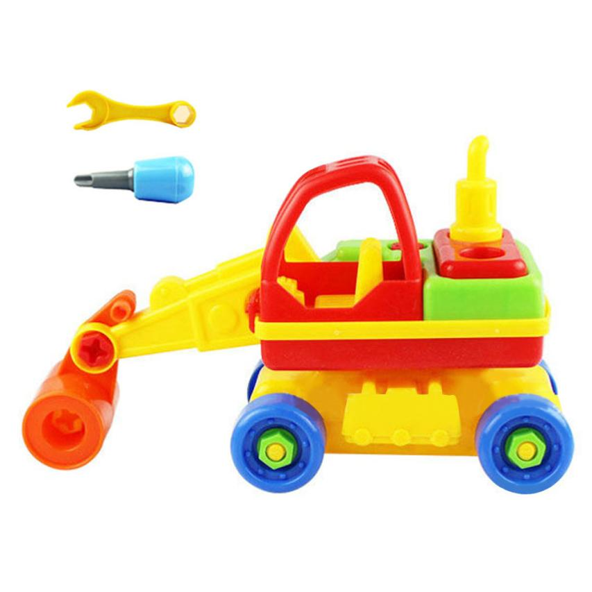Plastic Vehicles Toys 2017 New Kids Child Baby Disassembly Assembly Cartoon Car Toy Mini Birthday gift for boy
