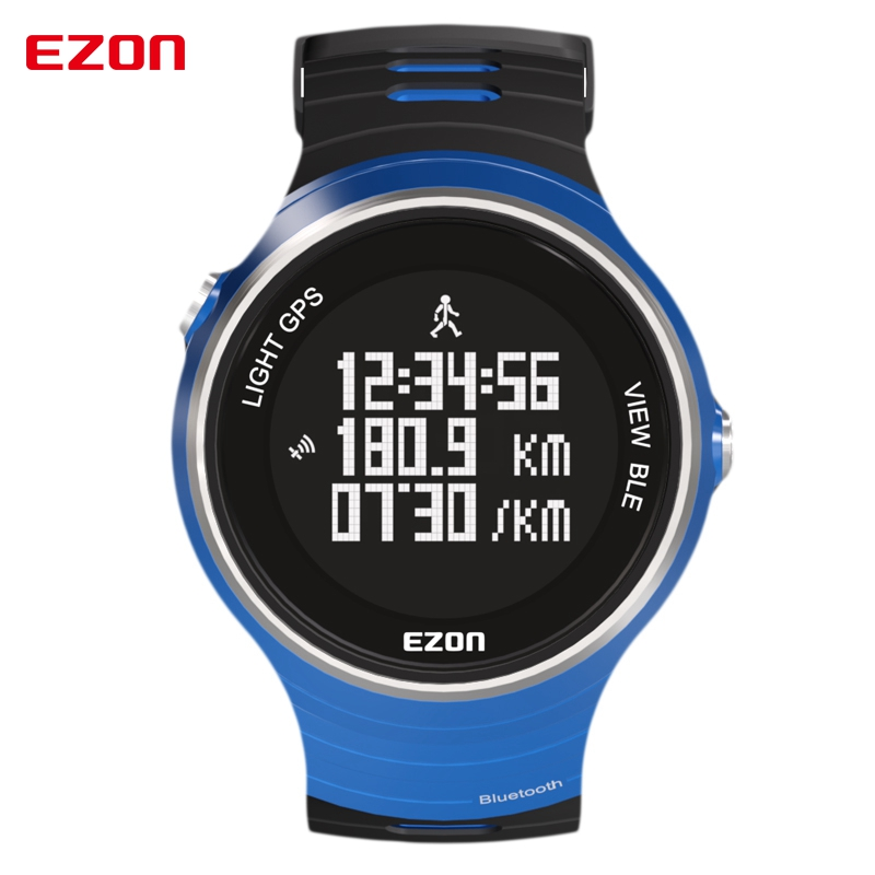EZON GPS Pedometer Smart Bluetooth Calories Sport Watches Waterproof 50m Digital Watch Running Wristwatch for IOS Android ezon pedometer optical sensor heart rate monitor alarm calories men sports watches digital watch running climbing wristwatch