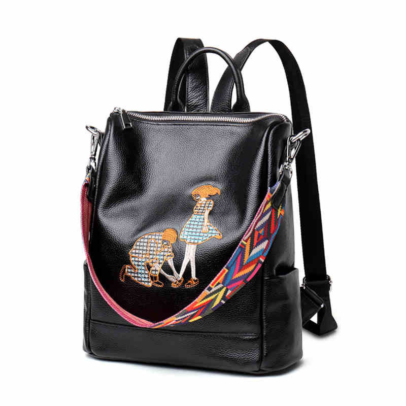 Womens Korean version of the leather vertical shoulder bag Simple header of the leather shoulder bag embroidery dual-purpose ba