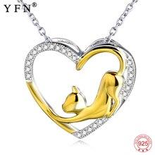 YFN สร้อยคอ 925 สร้อยคอเงินหัวใจแมวคริสตัล Zircon จี้ผู้หญิงเครื่องประดับสร้อยคอผู้หญิงของขวัญรับปริญญาของขวัญ