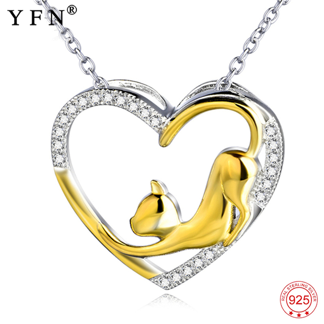 YFN Necklace 925 Sterling Silver Necklace Heart Cat Crystal Zircon Pendant Womans Jewelry Necklace Girls Gift Graduation Gifts
