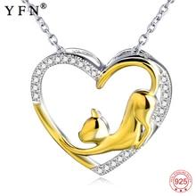 YFN naszyjnik 925 srebro naszyjnik serce kot kryształ wisiorek z cyrkonią kobieta biżuteria naszyjnik dziewczyna prezent Graduation prezenty