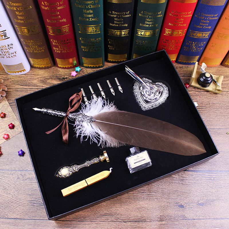 High Quality Quill Feather Dip Pen with Sealing Wax Stamp Pack in Black Gift Box Fountain