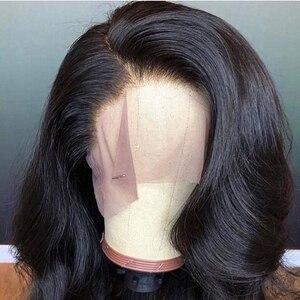 Image 1 - ブラジル実体波レースフロント人毛ウィッグ女性のための自然な黒の漂白事前摘み取らで漂白ノット