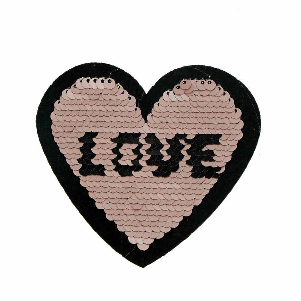 1 pc coração gato borboleta remendo reversível lantejoulas costurar no remendo para roupas diy artesanato casaco camisola bordado remendo applique