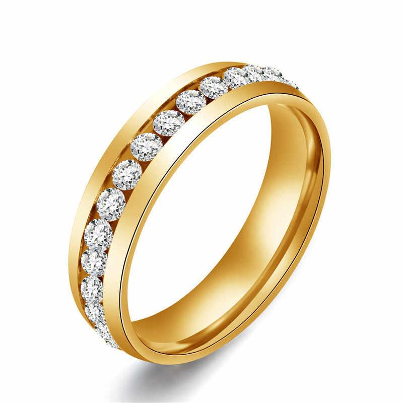 Anillo de acero inoxidable con incrustaciones de diamantes de imitación de Color dorado para mujer anillo clásico de compromiso de cristal para boda
