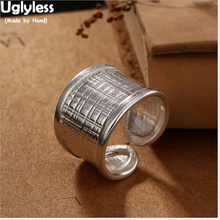 Uglyless S 925 de plata esterlina étnico nepalés de las mujeres personalizado anillos bohemio tejido textura anillo diseño exagerado Bijoux