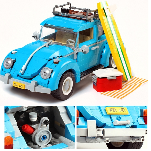Creator Retro car Toy Legoing Technic Series Cooper T1 Camper Van Light Set Compatible Legoing Car Blocks Kids Toys For Children 4