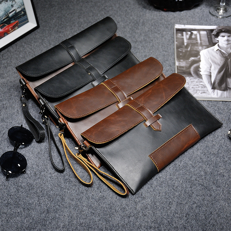 2019 New Vintage Crazy Horse PU Leather Men small handbag Business Casual Messenger Bags
