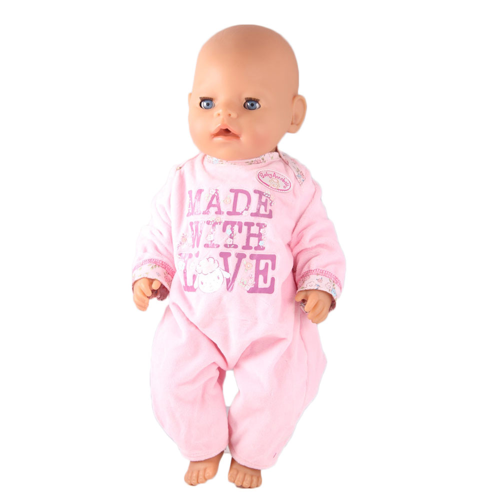 New Cheap Factory Price 43cm Baby Born Zapf Doll Clothes Pink Long Sleeves Jumpsuit Doll Accessories Children Best Gift ZD571 meired grid jumpsuit hat wear fit 43cm baby born zapf children best birthday gift only sell clothes