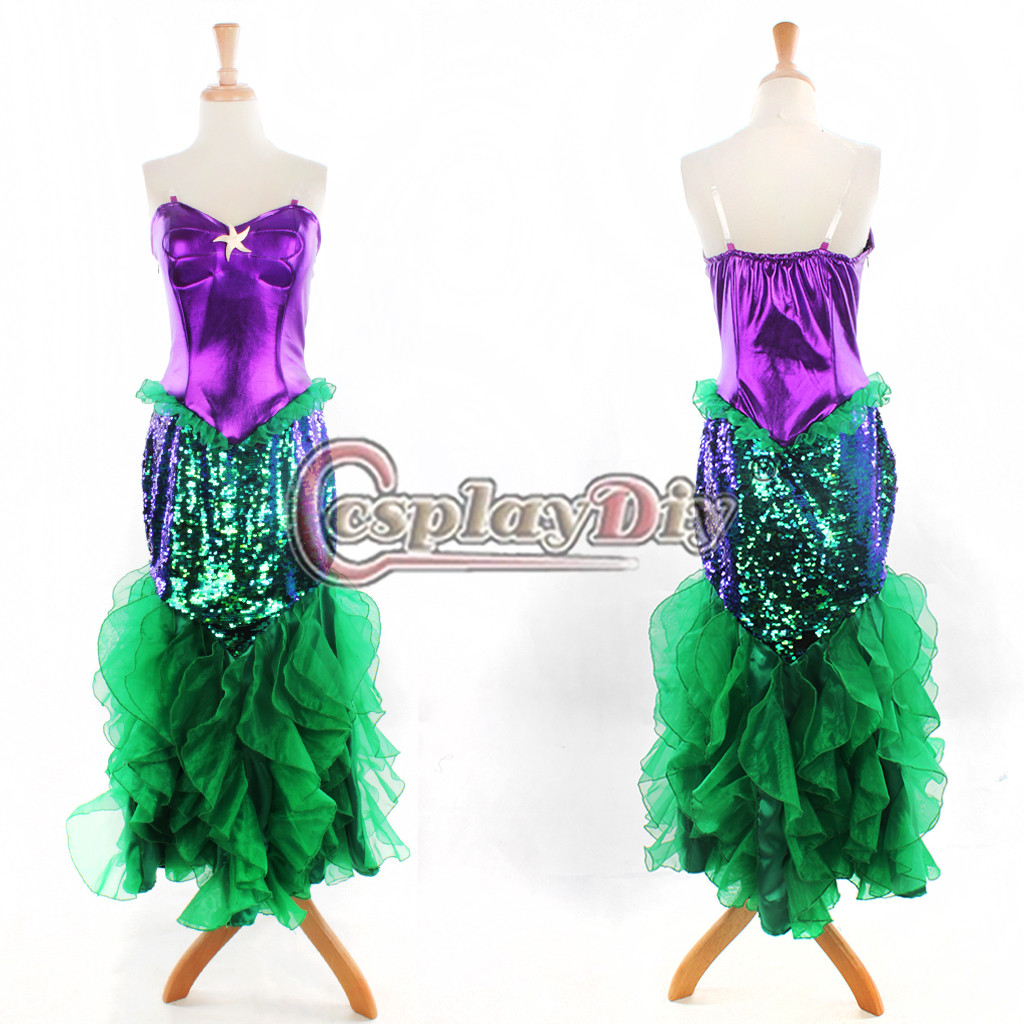 Custom Made FREE SHIPPING  the Little Mermaid Ariel Princess Dress Purple Dress Adult Women Plus Size A Dress Cosplay