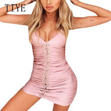 TIYE Backless Deep V Neck Wrapped Pleated Lace-up Halter Sling Dress Summer Elegant Sexy Casual Party Club Dresses Women