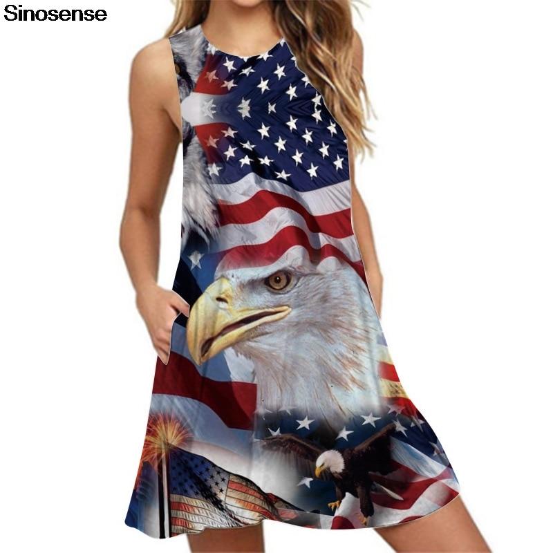 Vintage Summer Sleeveless O-Neck American Flag Print Beach Short Mini Dress for Women