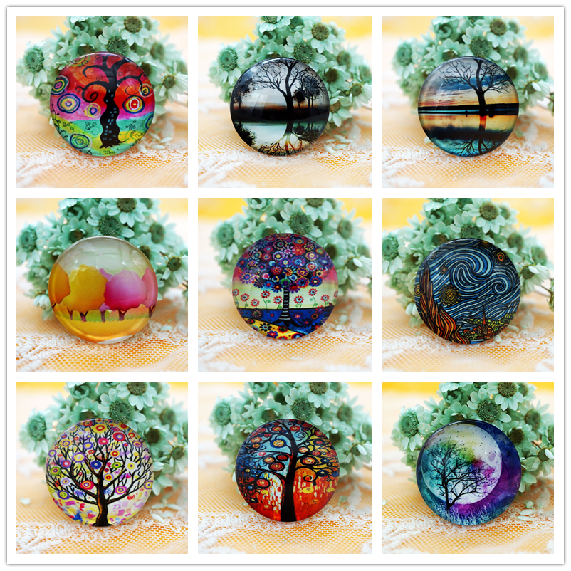 10PCS/lot Round 8-20MM Tree Glass Cabochon For Make Bracelet Necklace Jewelry For Women Earring Pins Brooch Craft Supply