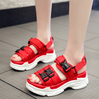 47c64af29 2019 Fashion Summer Platform Chunky Woman Shoes Female Women S Sandals Red  Black Buckle Thick Soled