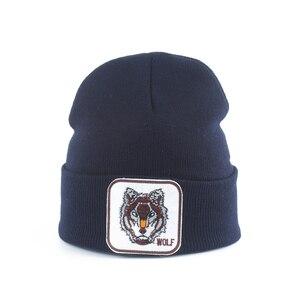 Image 2 - Neue Wolf Tier Beanie Männer Warme Gestrickte Winter Hüte Für Frauen Gorra Hip hop Skullies Motorhaube Unisex Kappe Dropshipping
