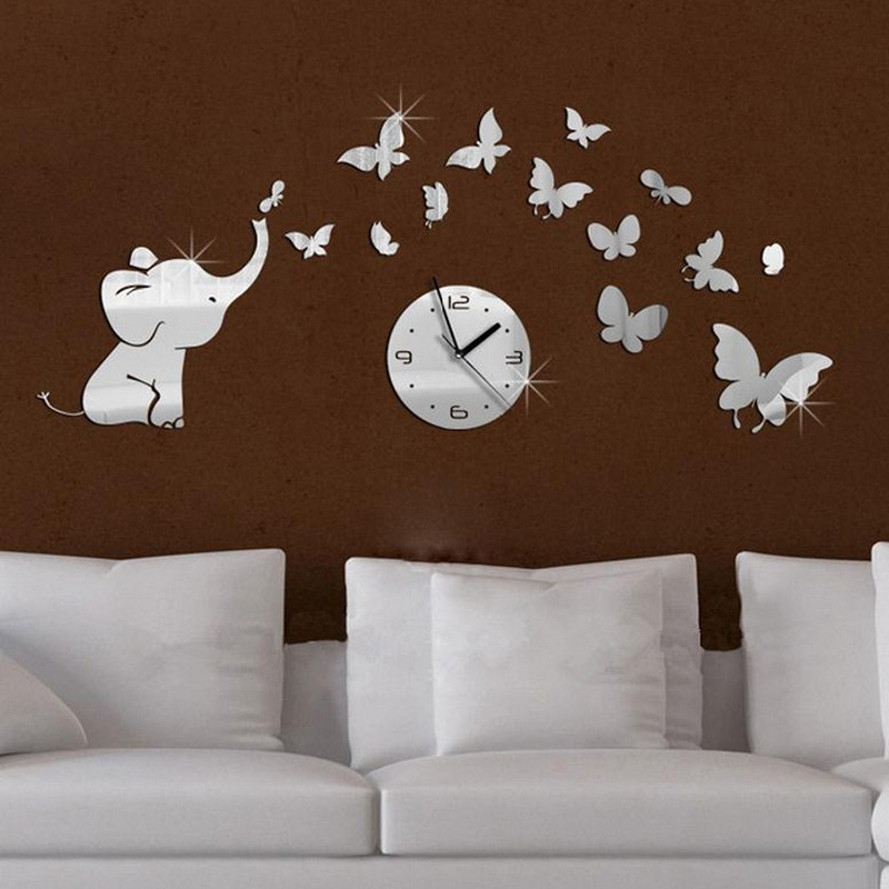 Top Fashion Hot Baby Mirrored Acrylic Wall Clock Modern Furniture Design Living Room Mirror Stickers Background In Clocks From Home Garden On