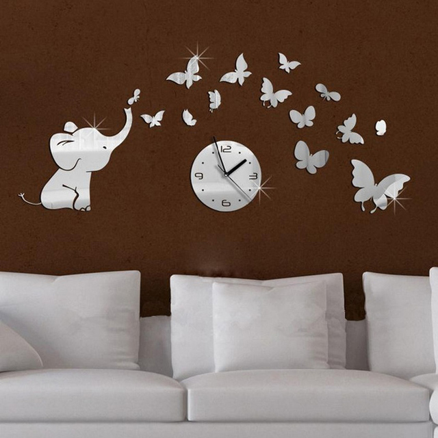 Well-liked top fashion hot baby mirrored acrylic wall clock modern furniture  ZF78
