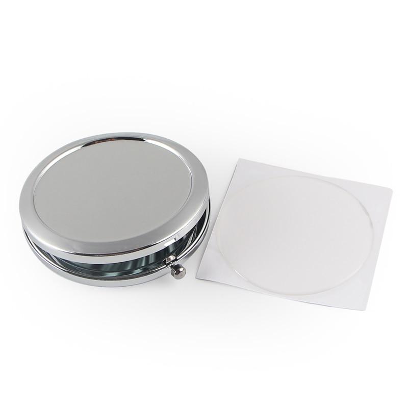 Круглое зеркало компактный пустой простой серебряный цвет для DIY подарок зеркало 18413-1