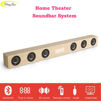 Wireless TV Soundbar Bluetooth Speaker 30W Sound Bar Hifi Stereo Sound Wooden Sound Bar with RCA AUX HDMI For TV Home Theater