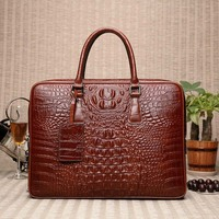 Real leather most popular crocodile pattern man bag 2019 New horizontal fine computer package real leather bag mail Messenger