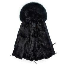 Модные Для мужчин длинная Стильная черная парка с капюшоном Настоящее пальто с мехом зимняя мужская Куртка Свободная перевозка